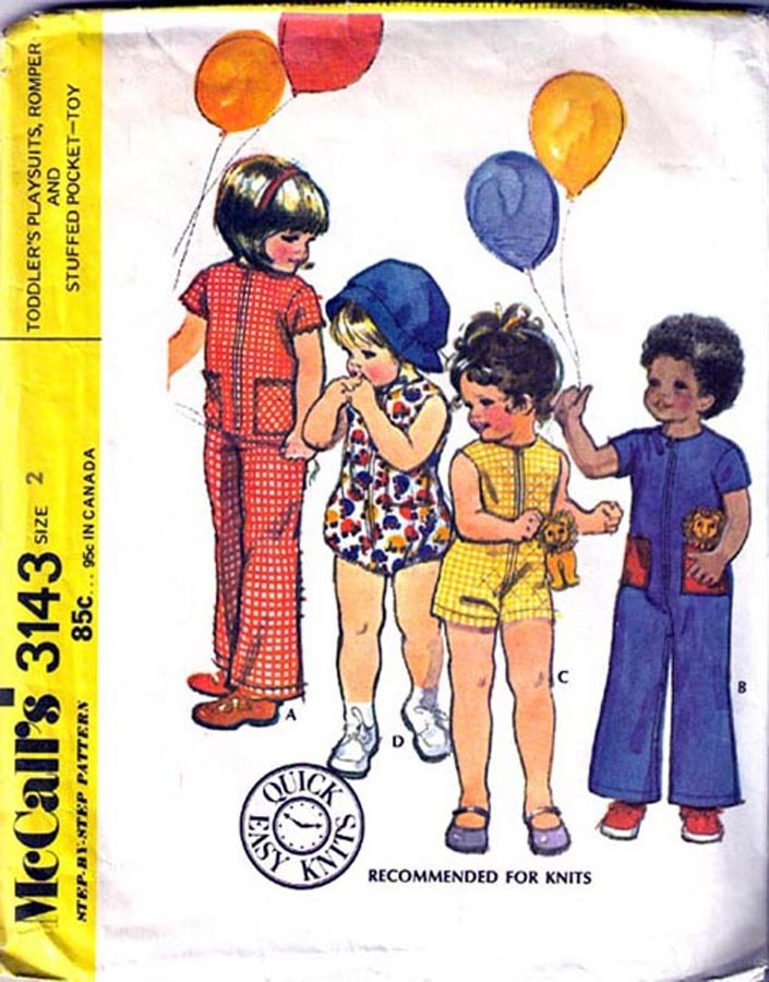 1972 JUMPSUIT, ROMPER & TOY Pattern 3143-m Toddler Size 2