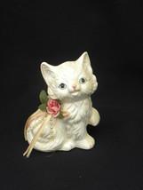 Vintage Trippies, Inc. 1992 Cream Colored Porcelain Cat or Kitten Figure... - $2.99