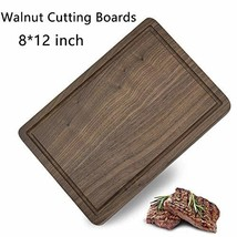 8 x 12 Inch Walnut Wood Cutting Board for Kitchen with Juice Groove Heavy Duty C
