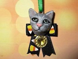 GREY TABBY CAT CHARM Ooak Halloween Mini Tree Ornament black pet holiday - €5,05 EUR