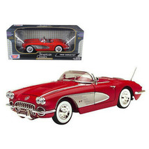1958 Chevrolet Corvette Convertible Red 1/18 Diecast Model Car by Motormax 73... - $60.82