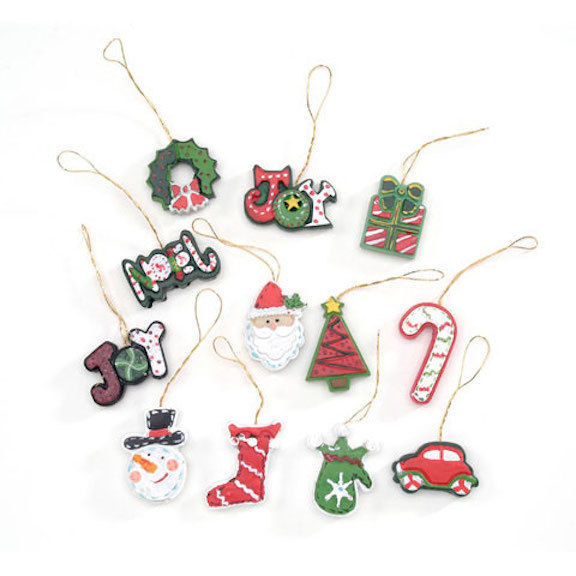 HOLIDAY CRAFT Resin Ornaments - Christmas Symbols - 1.5 inches - 12 PC #2460-91
