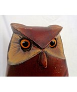 "Wooden Owl  by S.African Artist Hand painted 10"" Tall Limited Edition Fe... - $114.00"