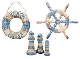 Nautical Lifebuoy, Ship Wheel, Lighthouse Decor, 5 Pc Set - $49.99
