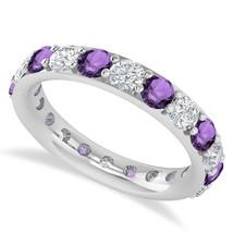 2.50 Ct Round Real Diamond & Amethyst 14K Gold Full Eternity Wedding Ban... - €716,88 EUR