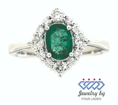 Emerald Birthstone 14K White Gold 0.69CT Real Natural Diamond Fine Ring ... - $840.12