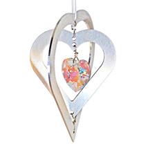 3D Aluminum and Crystal Heart Ornament image 1