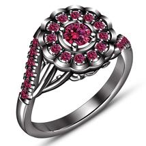 Bridal Engagement Women's Ring Pink Sapphire 10k Black Rhodium Finish 92... - $84.99