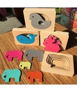 Wooden Educational Jigsaw Kids Learning Puzzle Baby Cartoon Animals Colo... - $15.88