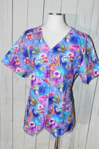 Cherokee Women's Multi-Colored Butterfly Patterned Short Sleeve Scrub Shirt  - $19.79