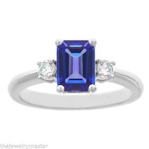 TANZANITE & DIAMOND ENGAGEMENT RING EMERALD CUT 8x6mm WHITE GOLD 1.60 CA... - €1.293,46 EUR