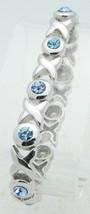 VTG COOKIE LEE Silver Tone Light Blue Rhinestone Elastic Bracelet - $19.80