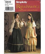 Simplicity Pattern 3809 Renaissance Gown Dress Costume Misses Szs 16 18 ... - $9.99
