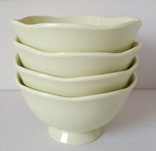 Target Home 4 Melamine Bowls Sunday Brunch Celery Green Footed Scalloped... - $17.81