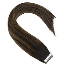 Sunny 18inch Tape in Highlighted Hair Extensions Darkest Brown Real Human Hair E image 4