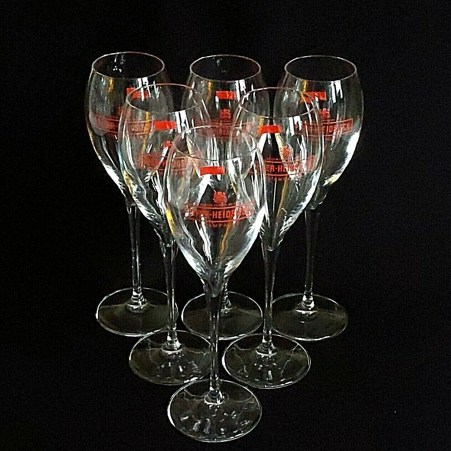 6 (Six) PIPER-HEIDSIECK RED LOGO Maison Fonde'e  1785 Crystal Champagne Flutes