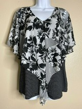 French Blue Womens Size Petite Medium Floral Striped Layered Blouse  - $12.57