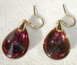 Baccarat Psydelic Teardrop Earrings Purple Crystal 18K Gold #2810421 New - $329.90