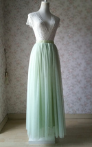LIGHT GREEN Elastic High Waist Tulle Skirt Green Wedding Bridesmaid Tulle Skirts image 2