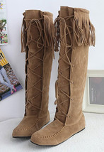 88B053 Cross lace up fringe Mid-calf boot,Size 4-10.5, yellow - $48.80