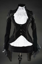 Black Velvet Victorian Vampire Gothic Corset Back Jacket Steampunk Tailcoat - $75.68