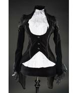 Black Velvet Victorian Vampire Gothic Corset Back Jacket Steampunk Tailcoat - $71.53