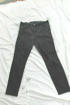 Gap Destressed 33R 33 Jeans Resolution Slim Straight Soft  Black Denim H... - $14.85