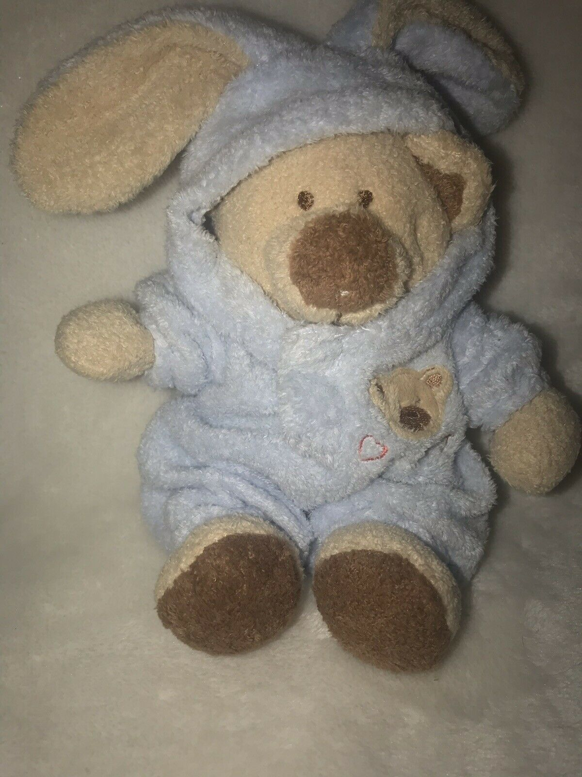 """Baby Ty Pluffies PJ Blue Bear Bunny Removable Pajamas Plush Love To Baby 7"""" 2005 image 2"""