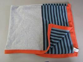 Baby Gap Gray Navy Blue Orange Stripe Striped Cotton Knit Boy Blanket - $49.47