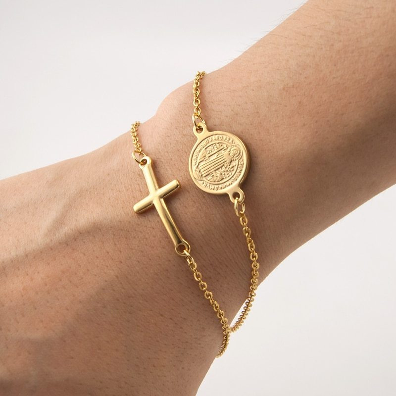Saint benedict medal cross charm gold silver religious bracelet catholic medals bracelet pulsera