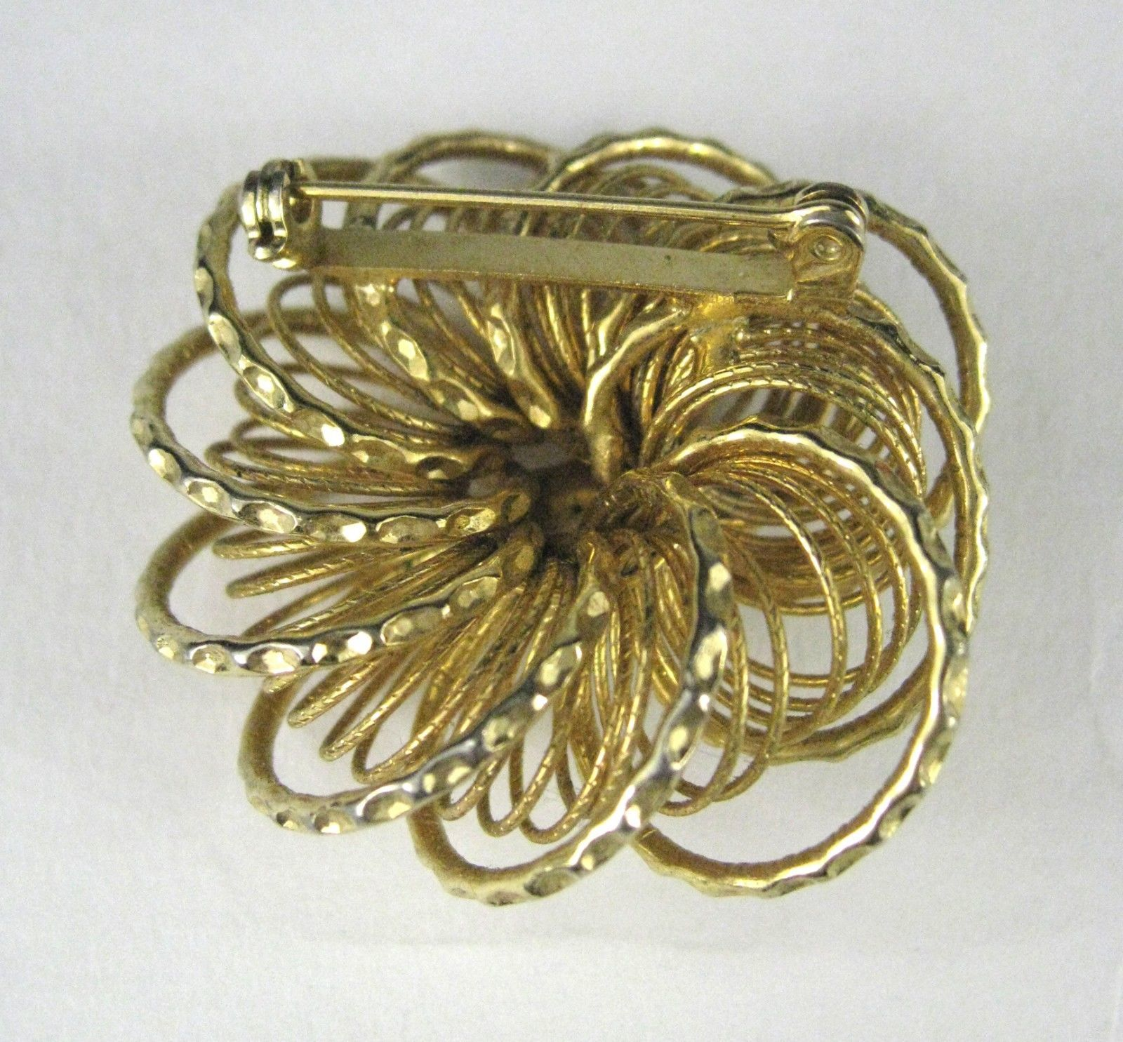 Brooch Gold Tone Real Pearl Sunburst Swirl Size 1.5 Inches Fashion Vintage 1960?