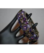 Bangle Bracelet with Purple Amethyst Colored (February Birthstone) Rhine... - $14.99