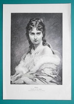 YOUNG BEAUTY Lovely Maiden Bianca - VICTORIAN Era Engraving Print - $21.60