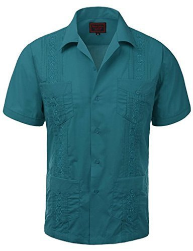 Guayabera Men's Cuban Beach Wedding Short Sleeve Button-Up Casual Dress Shirt (L