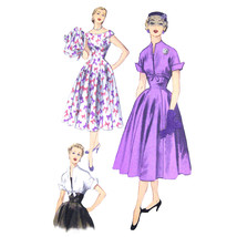 Vtg 50s Advance 6016 Misses Fit Flared Dress Cap Sleeve Midi Bolero 12 30B - $19.95