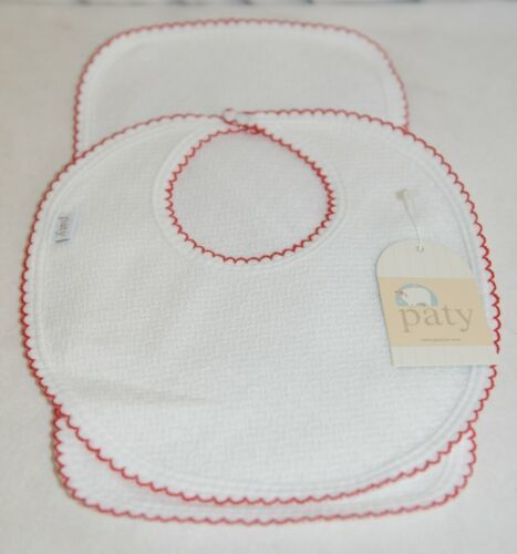 Paty Inc 15H153 Bib And Burp Set Solid White With Red Picot Trim