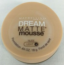 Maybelline Dream Matte Mousse Foundation Nude Light #4 .64 Oz Jar Brand New - $7.60