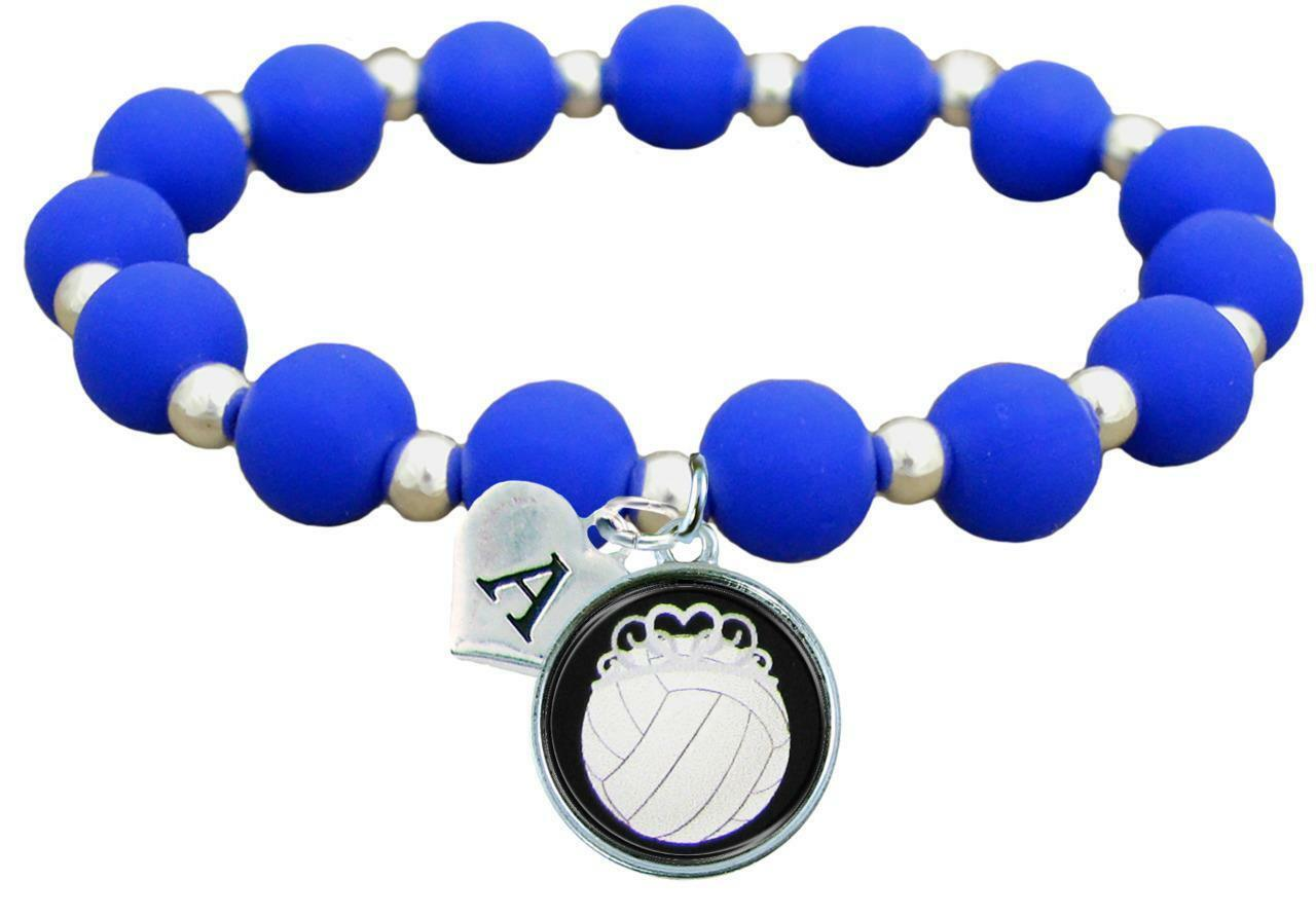 Primary image for Custom Volleyball Princess Silicone Stretch Bracelet Choose Initial & Team Color