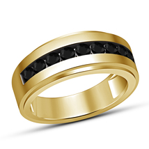 Round Cut Black Diamond Yellow Gold Plated 925 Silver Wedding Men's Band Ring - £52.18 GBP