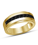 Round Cut Black Diamond Yellow Gold Plated 925 Silver Wedding Men's Band... - $64.99