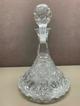 Vintage Large Pressed Cut Glass Ship Captain's Decanter with Stopper Fla... - $44.54