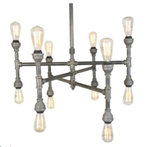 "Industrial Mid-Century 12-Light Chandelier, 28"" Entryway Iron Lamp - $375.00"