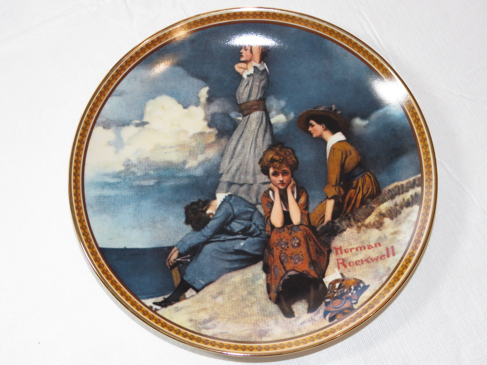 Primary image for Norman Rockwell's Waiting on the Shore 11996AC collector plate Knowles China ~