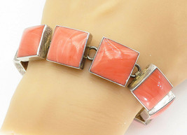 MEXICO 925 Silver - Vintage Rhodochrosite Square Link Chain Bracelet - B... - $159.04