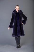 Blue Black Beaver Fur Coat Hooded Fur Coat Full Skin Fox Fur Trim - $1,287.00