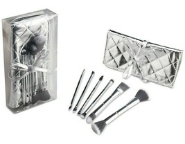 Macy's Glitterati Culture 6 Pc Dual-end Face & Eye Brush Set with Pouch ... - $19.99