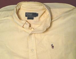 Polo Ralph Lauren Stripe SS Button Down Shirt Color Pony Logo Men L Yellow White - $20.99