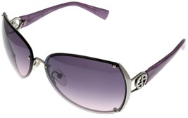 Giorgio Armani Sunglasses Women GA497 EAH Ruthenium Violet Striped Recta... - $177.21