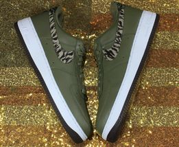 Nike Air Force 1 One Low AOP Basketball Shoes Olive-Green/White [AQ4131-200]- 13 image 4