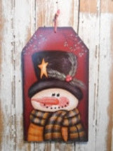 Snowman Decor  5669 - Snowman Gift Tag Burgundy - $7.95